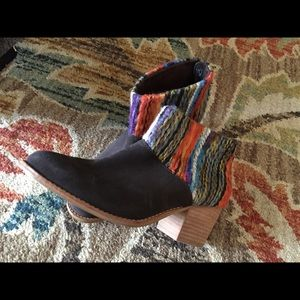 TOMS Leila Chocolate Suede Multi Textile Booties
